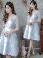 แฟชั่นชุดออกงาน ชุดไปงานแต่งงานสีฟ้า เดรสสั้นแขนสี่ส่วนแต่งลูกไม้ กระโปรงทรงบาน เรียบหรู สวยสง่า สไตล์เจ้าหญิง