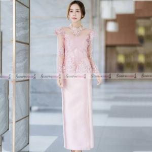 ชุดออกงานสีชมพูแบบไทยประยุกต์ เซ็ทเสื้อลูกไม้แขนยาวซีทรู + กระโปรงยาว : พร้อมส่ง S M L XL