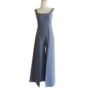 ชุดจั๊มสูทกางเกงขายาวสีฟ้าคราม สายเดี่ยว กางเกงขากว้างแต่งระบาย สุดเก๋ : พร้อมส่ง S M L
