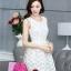 ชุดเดรสสั้นออกงาน ไปงานแต่งงาน น่ารักๆ สีครีมอ่อน ผ้า organza ปักลายดอกไม้ คอกลม แขนกุด กระโปรงทรงสุ่ม ซิปหลัง ซับในอย่างดี ไซส์ XL thumbnail 1