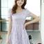 ชุดเดรสทำงานแฟชั่นเกาหลี สีม่วง ผ้าลูกไม้ซับใน คอกลม แขนสั้น ซิปข้าง ไซส์ L thumbnail 1