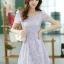 ชุดเดรสทำงานแฟชั่นเกาหลี สีม่วง ผ้าลูกไม้ซับใน คอกลม แขนสั้น ซิปข้าง ไซส์ M thumbnail 4