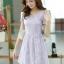 ชุดเดรสทำงานแฟชั่นเกาหลี สีม่วง ผ้าลูกไม้ซับใน คอกลม แขนสั้น ซิปข้าง ไซส์ M thumbnail 2