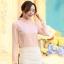 เสื้อเชิ๊ตทำงานผู้หญิง สีชมพูอ่อน ผ้าชีฟอง คอจีนจับจีบน่ารักๆ แขนยาว กระดุมผ่าหน้า thumbnail 2