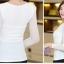 เสื้อทำงานสีขาว ผ้าลูกไม้ คอกลม แขนยาวเสื้อผ้าซีทรู เนื้อผ้ายืดเข้ารูป thumbnail 3