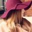 หมวกปีกกว้างเที่ยวทะเล สีไวน์แดง ผ้าสักหลาด ทรงสวย thumbnail 1