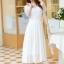 ชุดเดรสยาวสวยๆ สีขาว ผ้าชีฟอง คอกลม ช่วงไหล่แต่งด้วยผ้าซีทรูจับจีบระบาย แขนสั้น เอวคาดด้วยผ้า ซิปข้าง ซับในทั้งตัว ขนาดไซส์ XL thumbnail 6