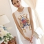 เสื้อแฟชั่นเกาหลี สีขาว ผ้าชีฟอง คอกลม แขนกุด พิมพ์ลายสวยๆ thumbnail 2