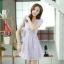 ชุดเดรสทำงานแฟชั่นเกาหลี สีม่วง ผ้าลูกไม้ซับใน คอกลม แขนสั้น ซิปข้าง ไซส์ M thumbnail 7