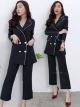 ชุดสูทสีดำสวยหรูสไตล์สาวออฟฟิศสุดเท่ set เสื้อสูทติดขลิบดำ มาพร้อมกางเกง 7 ส่วน