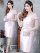 ชุดออกงาน ชุดไปงานแต่งงานสีชมพู เข้ารูป เปิดไหล่ ผ้าไหมอิตาลี แนวหวานๆ สวยหรู ดูดี