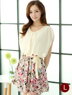 ชุดเดรสสั้นแฟชั่นเกาหลี สีเบจ กระโปรงลายดอกไม้สดใส เอวยืด มีสายผูกเอวน่ารักเก๋ๆ ผ้าชีฟอง ซับใน