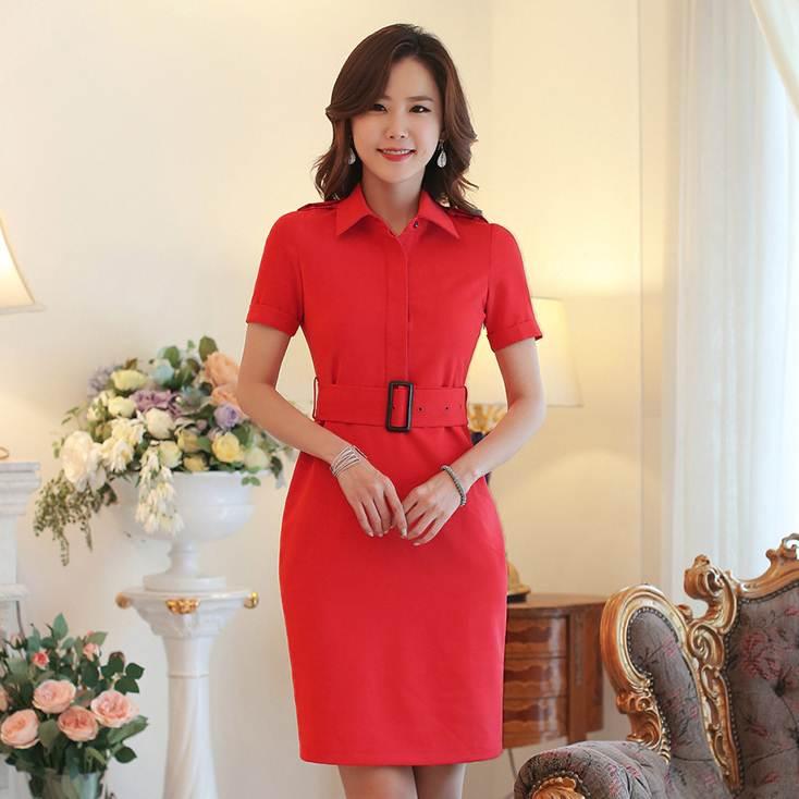 ชุดกระโปรงทำงานน่ารัก สีแดง