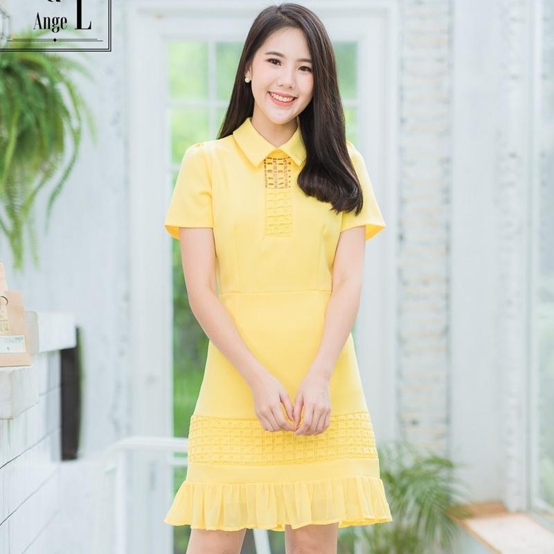 ชุดเดรสทำงานสั้นสีเหลือง