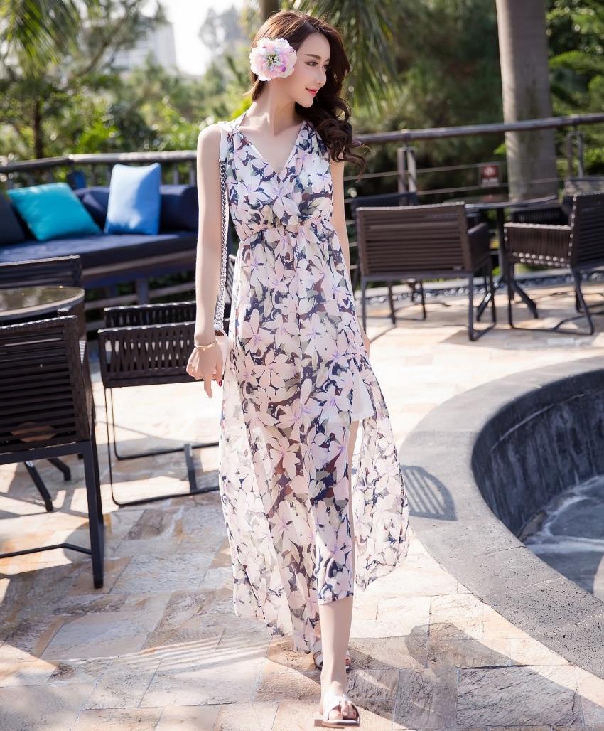 ชุดเดรสยาวไปเที่ยวทะเลโทนสีชมพู น้ำเงิน ลายดอกไม้ สวยๆ น่ารักๆ