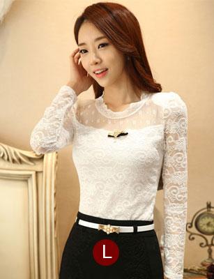 เสื้อทำงานสีขาวผ้าลูกไม้สวยหรู แขนยาว เข้ารูป พร้อมเข็มกลัดน่ารักๆ ไซส์ L