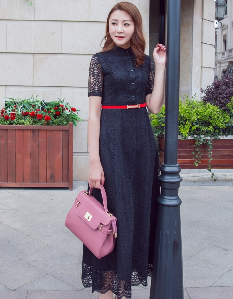 ชุดเดรสยาวสีดำ ผ้าลูกไม้ คอจีน แขนสั้น ลุคสาวหวาน เรียบร้อย น่ารัก สไตล์เกาหลี