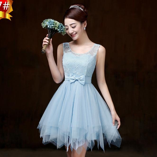 ชุดราตรีสั้น ชุดเพื่อนเจ้าสาว ชุดไปงานแต่งงาน สีฟ้า แขนกุด เอวแต่งโบว์สวยๆ แนวหวาน น่ารัก