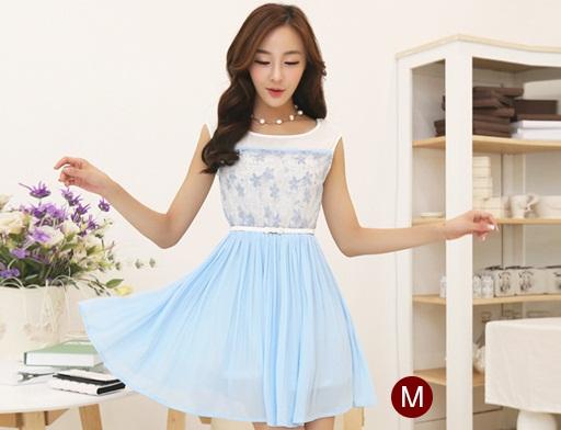 ชุดแซกสั้นน่ารักๆ สีฟ้า ผ้า organza ปักลายดอกไม้ เอวยืด กระโปรงพลีทผ้าชีฟอง ซับใน ขนาดไซส์ M