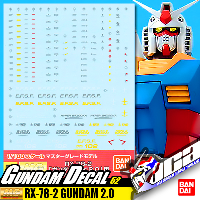 GD52 Gundam Decal MG Master Grade Gundam RX-78-2 Ver 2.0 Gunpla Bandai