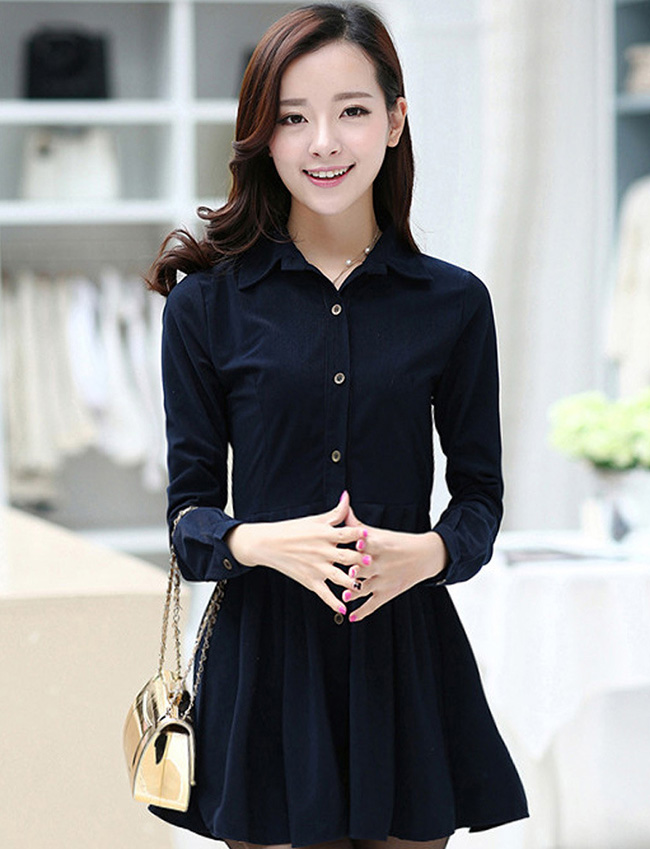 ชุดเดรสน่ารักแฟชั่นเกาหลี สีกรมท่า ผ้าคอลตอล คอปกเชิ้ต แขนยาว กระดุมผ่าหน้า