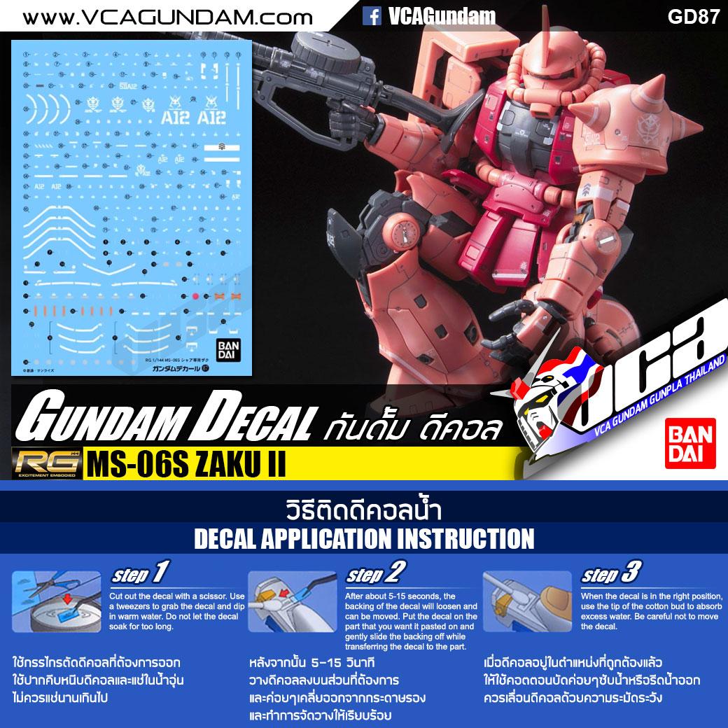 GUNDAM DECAL กันดั้ม ดีคอล   RG MS-06S ZAKU II